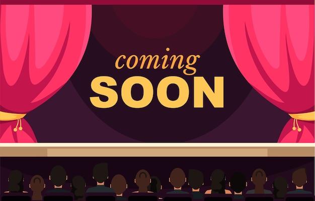 Próximamente plantilla de banner audiencia espectadores sentados en personajes de dibujos animados de musichall