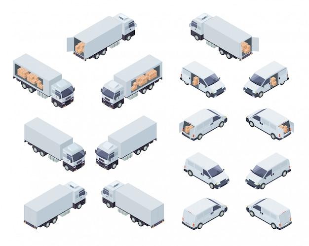 Proyección isométrica de transporte de carga comercial