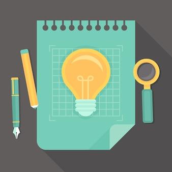 Proyecto creativo vector - icono en estilo plano