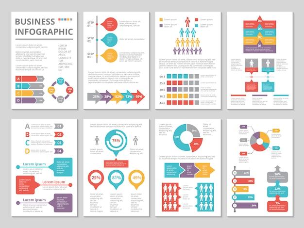 Proyecto de informe anual de negocios con infografía.