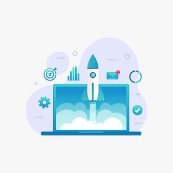 Proyecto de inicio empresarial que lanza el concepto de diseño de producto