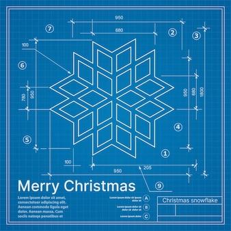 Proyecto de invierno de navidad copo de nieve en postal de bosquejo azul de año nuevo