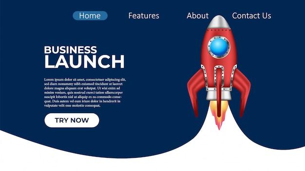 Proyecto de lanzamiento de cohetes de negocios página de aterrizaje