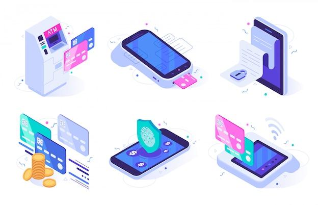 Proyecto de ley de finanzas electrónicas, seguridad de pago de finanzas y compra digital conjunto de ilustración vectorial