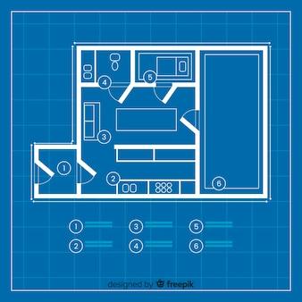 Proyecto moderno de casa plano