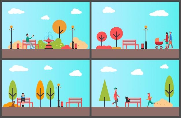 Proyecto de trabajo de mujer en portátil en conjunto de ilustración de autumn park