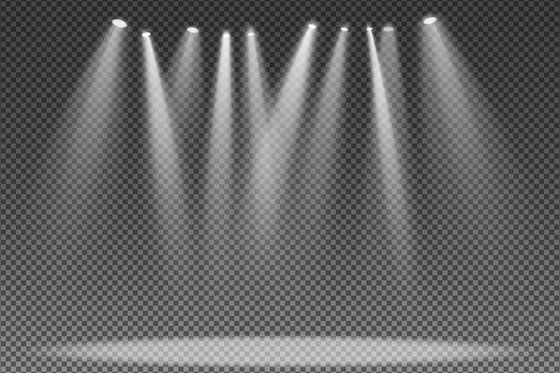 Proyector aislado sobre fondo transparente. luz para el podio.