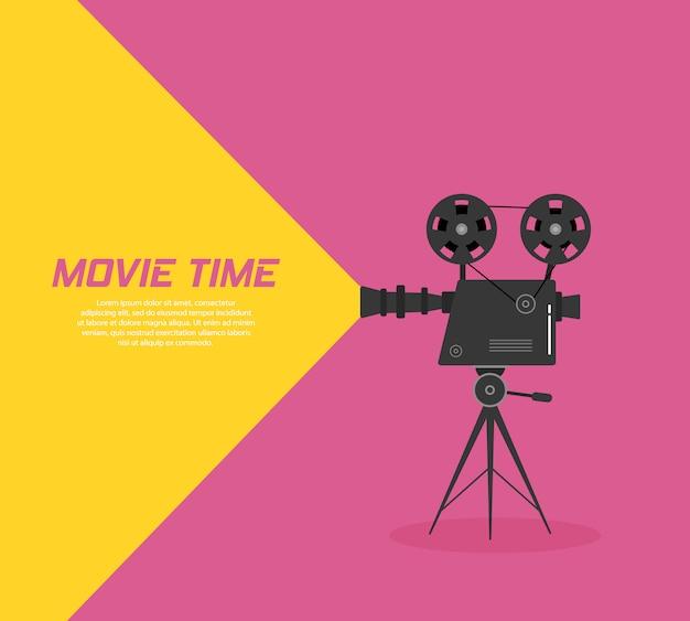 Proyector de cine en un trípode. boceto dibujado a mano de un viejo proyector de cine en monocromo aislado sobre fondo de color. plantilla para pancarta, folleto o póster.