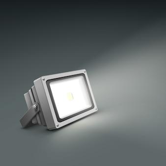 Proyector iluminado de piso de vector cerca vista lateral aislada sobre fondo gris oscuro