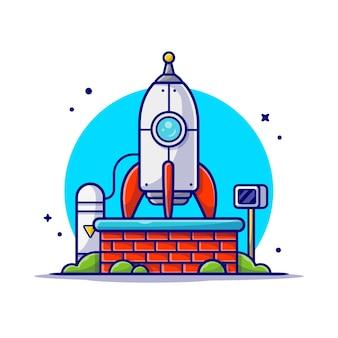 Prueba de cohetes para misión y aterrizaje en la ilustración del icono de dibujos animados de la luna.