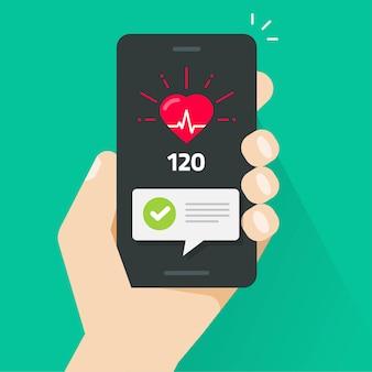 Prueba de control de la salud del corazón en la mano de la persona del rastreador de la aplicación del teléfono inteligente móvil