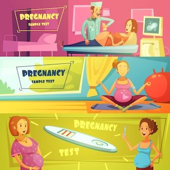 Prueba de embarazo prueba de barrido ecografía y ejercicios conjunto de banners