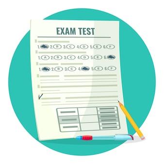 Prueba de examen en papel con respuestas y lápiz. evaluación de conocimientos sobre papel y bolígrafo. estimación de dibujos animados aislados de calificación.
