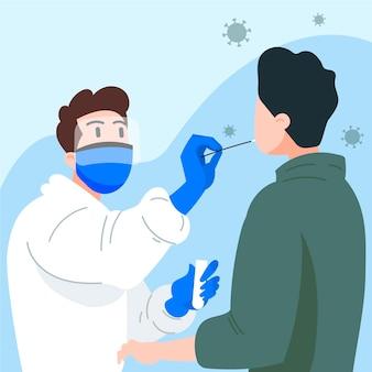 Prueba de frotis nasal en un paciente