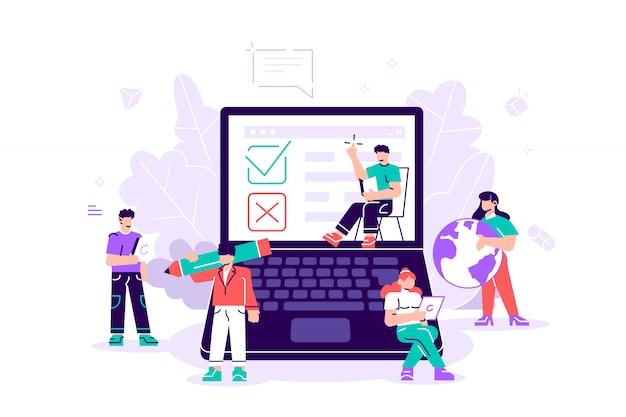 Prueba. ilustración de encuesta en línea para banner web, impresión, infografía, votación en línea, concepto de tecnología de encuesta en línea con personas y computadora portátil con lista de verificación. sí no lista
