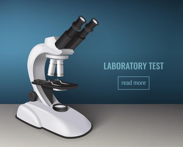 Prueba de laboratorio con microscopio realista.