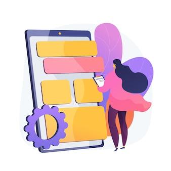 Prueba y optimización de aplicaciones. diseñador ux, desarrollador, interfaz de teléfono inteligente. aplicación de teléfono móvil de programación de personaje de dibujos animados femenino.