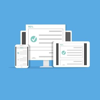 Prueba, prueba, encuesta o lista de verificación en línea. lista de exámenes concepto de educación electrónica. ilustración vectorial