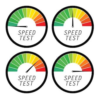 Prueba de velocidad icono de medida de internet. ilustración