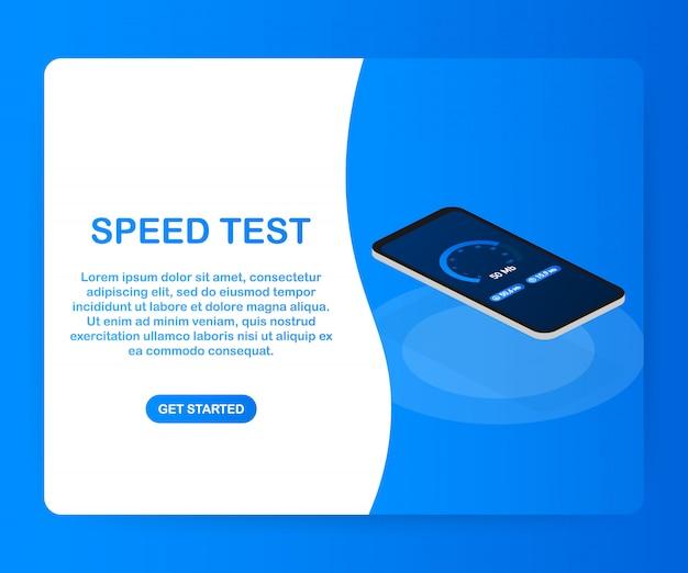 Prueba de velocidad en el teléfono inteligente. velocímetro de velocidad de internet. velocidad de carga del sitio web. .