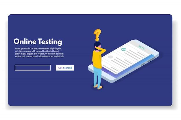 Pruebas en línea, e-learning, educación concepto isométrico. ilustración vectorial
