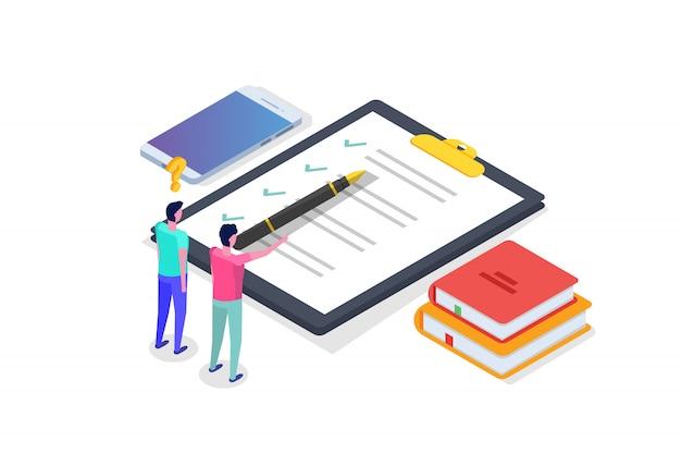 Pruebas en línea, e-learning, educación concepto isométrico. ilustración.
