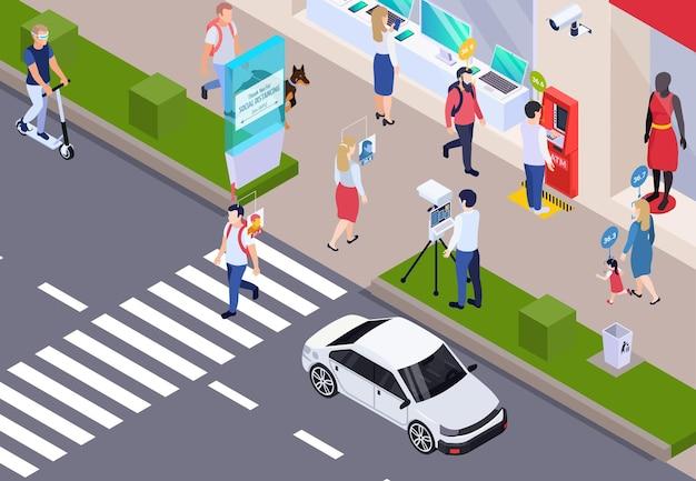 Pruebas médicas a los transeúntes en el fondo isométrico de las calles de la ciudad con el personal que mide la temperatura corporal usando la ilustración de sensores sin contacto