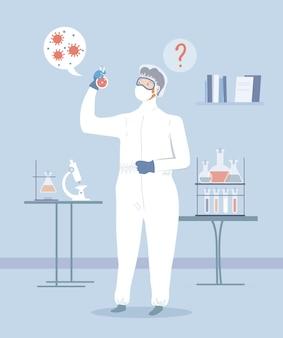 Pruebas de médico en laboratorio. diagnostique comprobando el resultado de la prueba de coronavirus o covid-19.