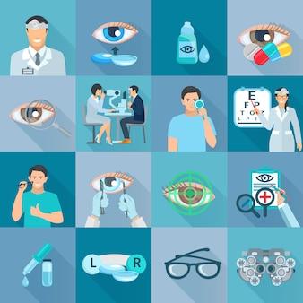 Pruebas de tratamientos clínicos de oftalmólogos y corrección de la visión colección de iconos planos con gafas a