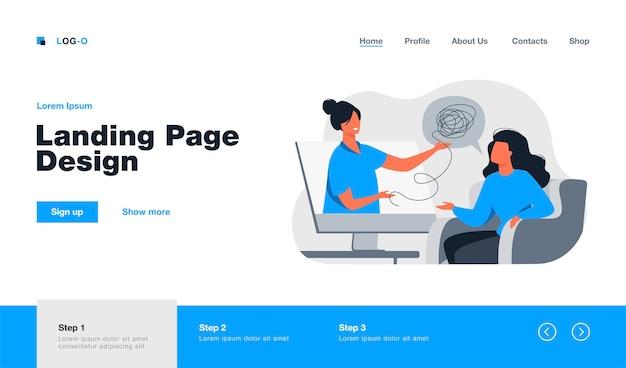 Psicóloga consultora de mujer en línea. página de destino en estilo plano.