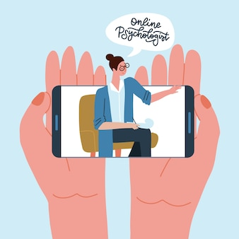 Psicología concepto de videollamada dos manos sosteniendo teléfono inteligente con psicóloga en pantalla en línea ...