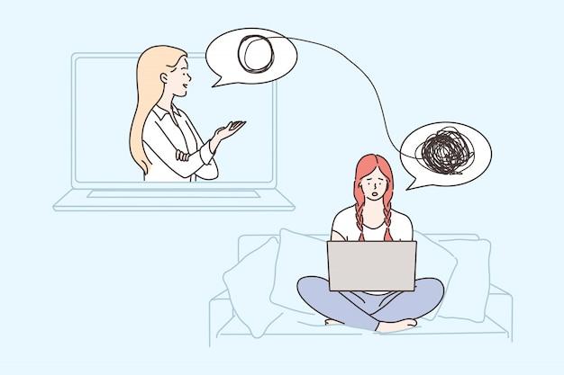 Psicología, salud, depresión, frustración, medicina para el estrés mental, concepto en línea.