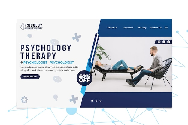 Psicología de la salud mental consultar plantilla web de página de destino