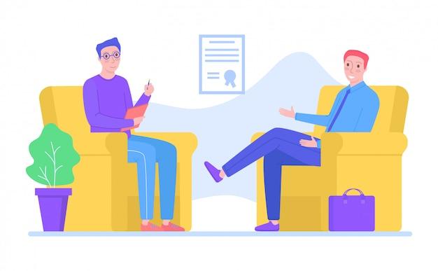 El psicólogo del carácter del hombre apoya el problema masculino, la psicoterapia ayuda a personas en blanco, ilustración. recuperación mental profesional.