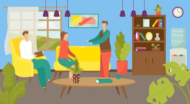 Psicólogo familiar, ilustración de terapia psicológica.