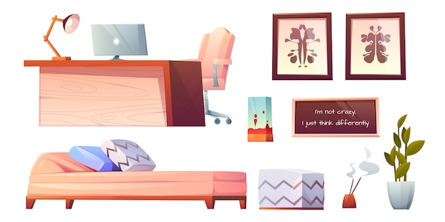 Psicólogo psicoterapeuta material de oficina imágenes prediseñadas