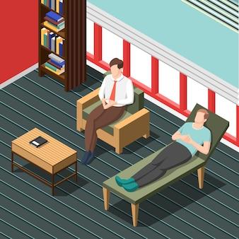 Psicoterapia consejería escena isométrica
