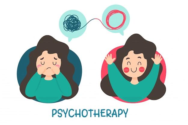 Psicoterapia. una mujer con problemas mentales causa tristeza y necesita tratamiento para estar de buen humor.