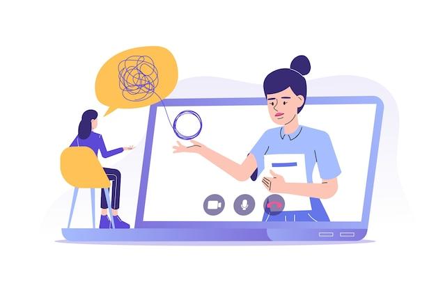 Psicoterapia online en diseño plano