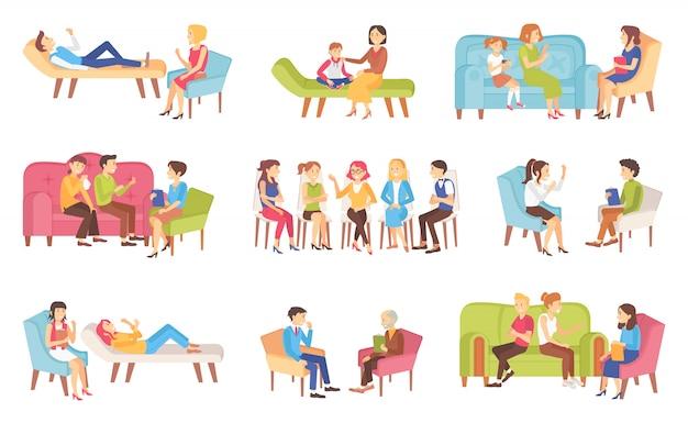 Psicoterapia personas hablando sobre problemas establecidos