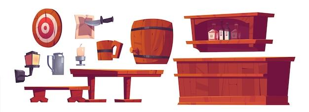 Pub de cerveza, salón, bar retro interior y muebles, banco y escritorio de madera