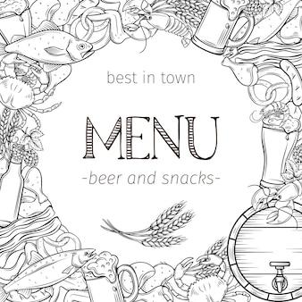 Pub comida y cerveza dibujado a mano plantilla marco y diseño de página. cartel de alcohol y bocadillos con cangrejo, langosta, camarones, pescado, alitas y patas de pollo, pretzel y nachos para el menú del craft beer club.