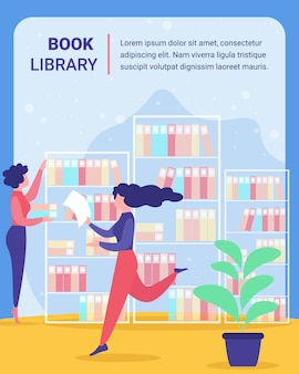 Public, university library vector poster template