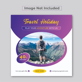 Publicación de banner cuadrado web de redes sociales de viajes