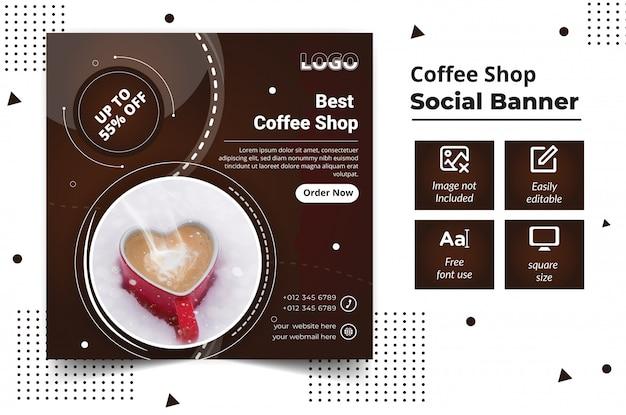 Publicación de banner de redes sociales de cafetería