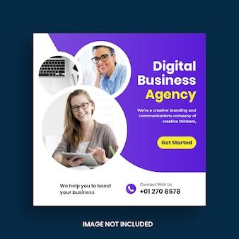 Publicación y banner de redes sociales de marketing de negocios digitales