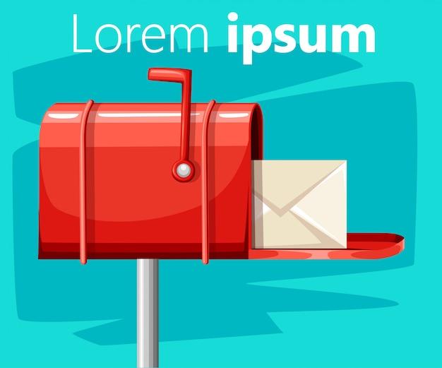 Publicación de buzón de correo abierto rojo con correo en la ilustración de estilo sobre fondo turquesa con lugar para la página web de texto y la aplicación móvil