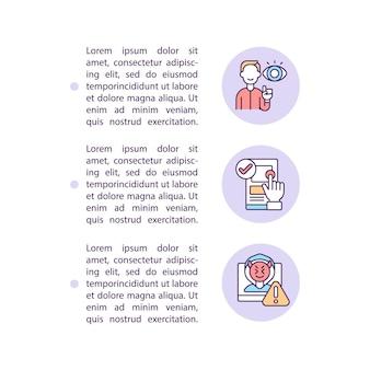 Publicación cautelosa y uso compartido de iconos de líneas de concepto en línea con texto