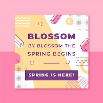 Publicación colorida de instagram de primavera de memphis