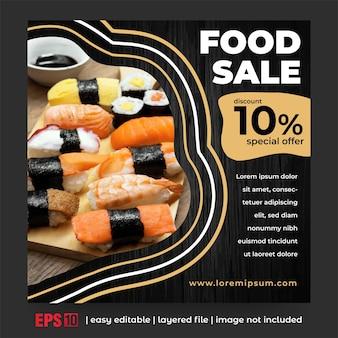 Publicación de comida en redes sociales con color dorado